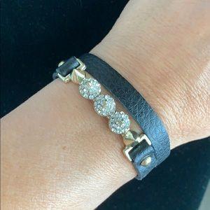 Jewelry - Black leather diamond spike wraparound bracelet